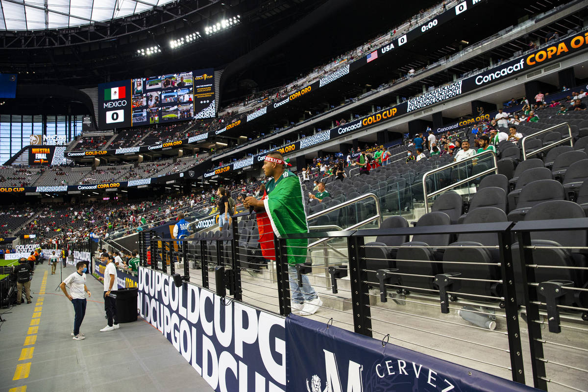 Fans gather in the stadium before the start of the Concacaf Gold Cup final soccer match at Alle ...