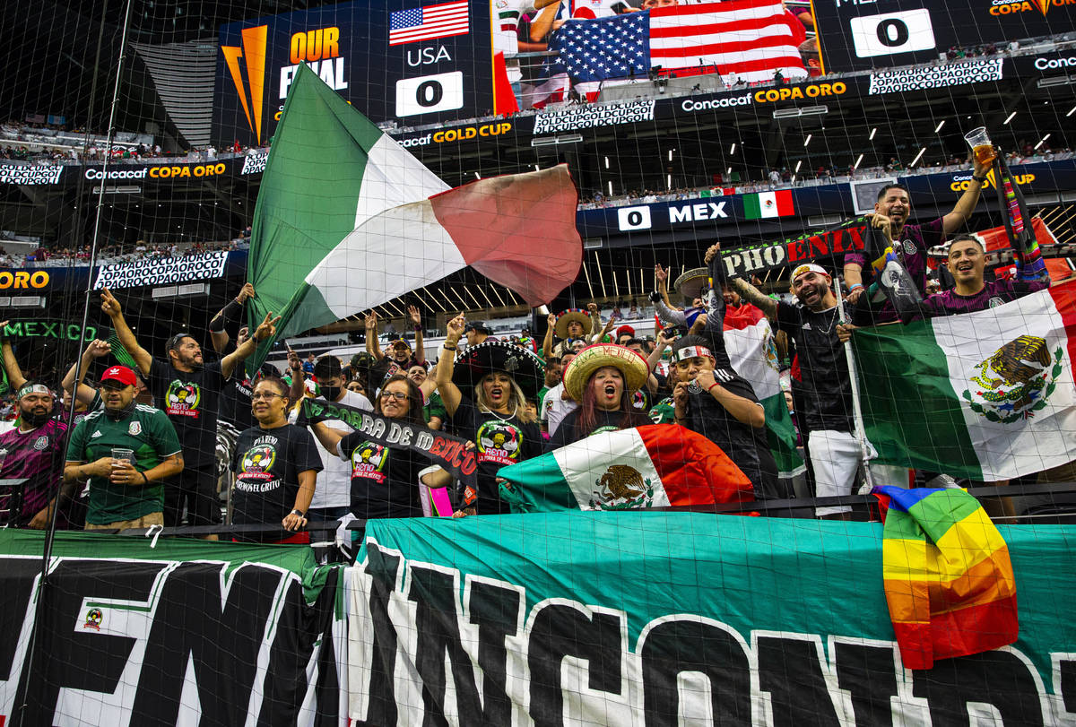 Mexico fans cheer before the start of the Concacaf Gold Cup final soccer match at Allegiant Sta ...