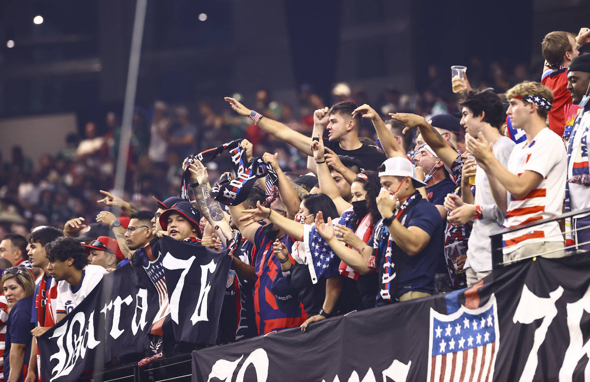 United States fans cheer during the first half of the Concacaf Gold Cup final soccer match agai ...