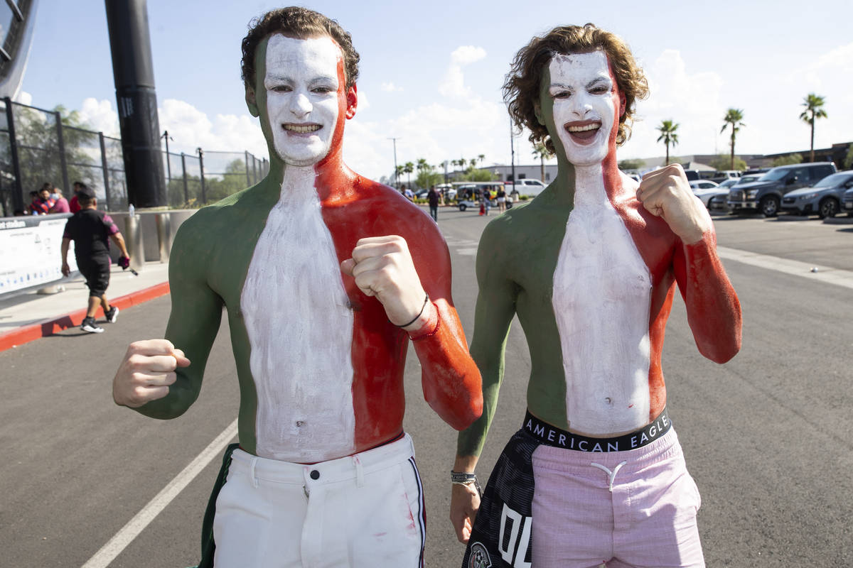 Brothers Jack Rullan, left, and Max, of Mexico City, Mexico, attend the Concacaf Gold Cup final ...