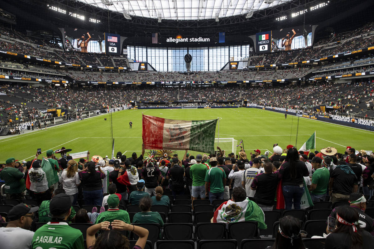 People attend the Concacaf Gold Cup final at Allegiant Stadium in Las Vegas, Sunday, Aug. 1, 20 ...