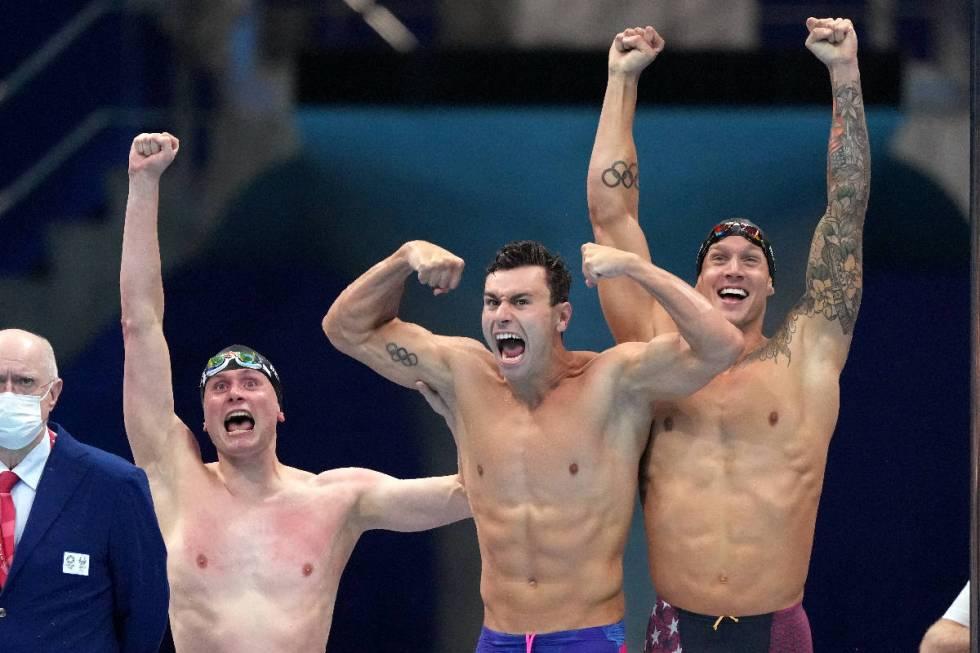United States men's 4x100m freestyle relay team of Bowe Becker, Blake Pieroni and Caeleb Dresse ...