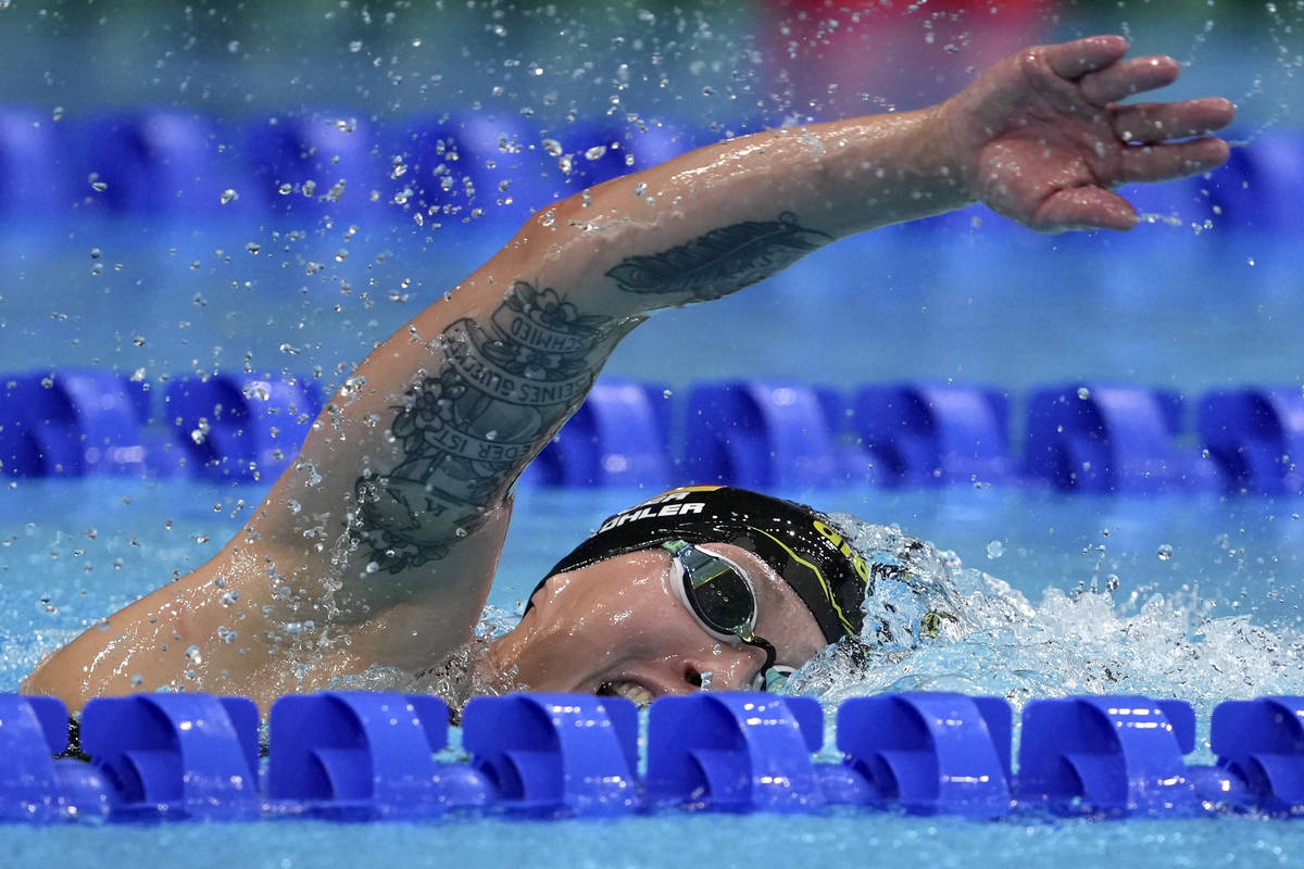 Erica Sullivan of the United States swims in the women's 1500-meters freestyle final at the 202 ...