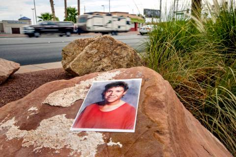 A photograph of Stephanie Isaacson is placed at the once-undeveloped area around Bonanza Road a ...