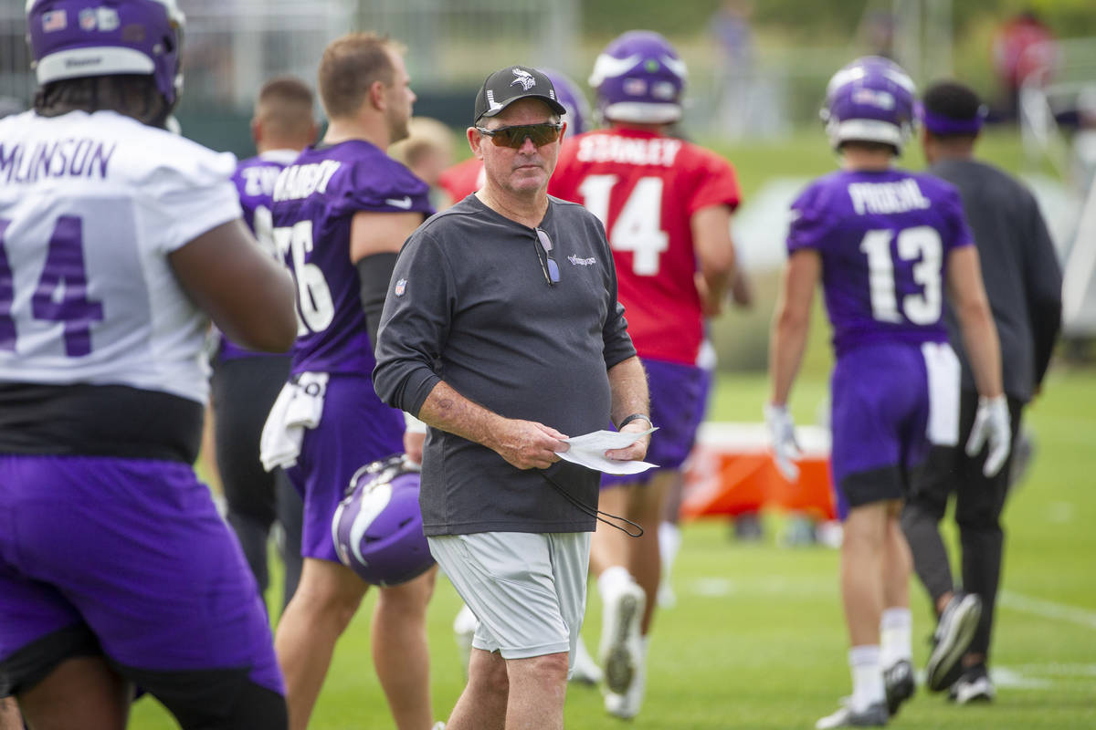 Minnesota Vikings head coach Mike Zimmer participates in NFL training camp Wednesday, July 28, ...