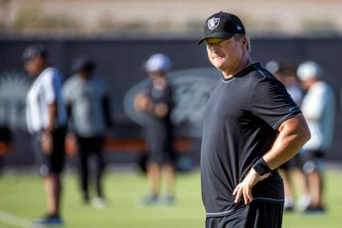 Raiders Head Coach Jon Gruden looks his players during practice at the Intermountain Healthcare ...