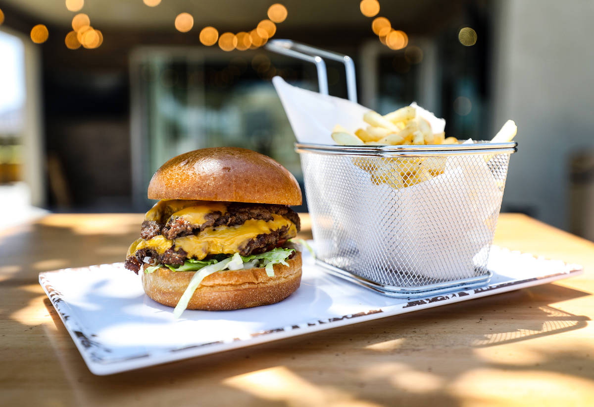 The PKWY burger from the menu at the new PKWY Tavern in Henderson, Thursday, Aug. 5, 2021. This ...