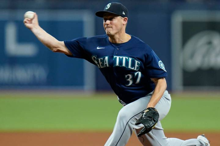Seattle Mariners relief pitcher Paul Sewald during the eighth inning of a baseball game against ...