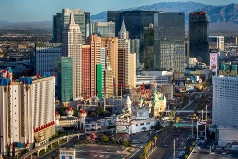 The Excalibur, New York-New York and other properties about the Las Vegas Strip during an aeria ...
