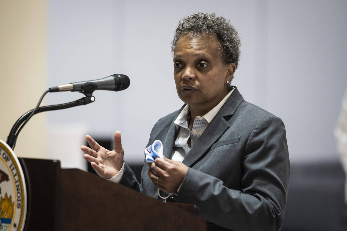 Chicago Mayor Lori Lightfoot. (Ashlee Rezin Garcia/Chicago Sun-Times via AP, File)
