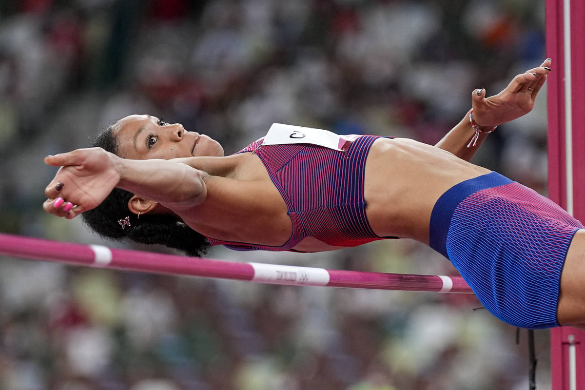 Vashti Cunningham, of the United States, competes in the women's high jump final at the 2020 Su ...