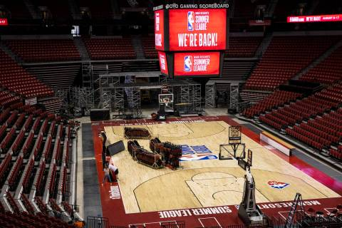 NBA Summer League signage is seen at the Thomas & Mack Center in advance of the tournament ...