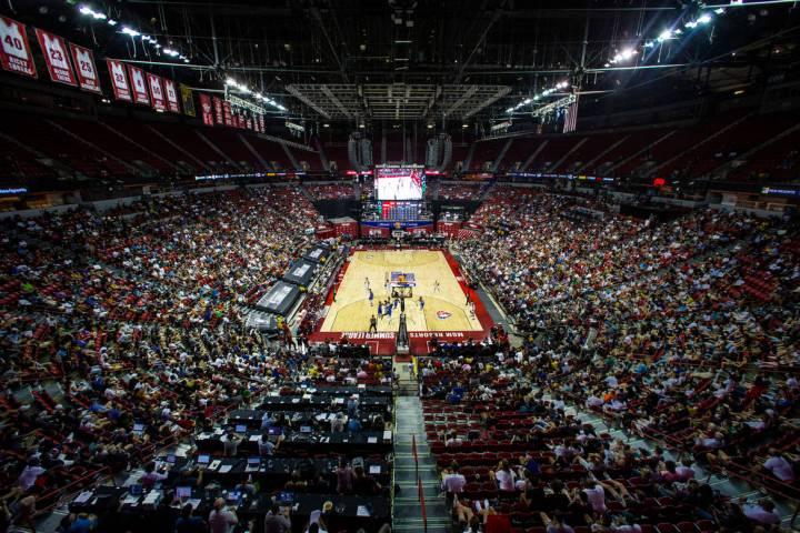 The Detroit Pistons play the Oklahoma City Thunder during the first half of an NBA Summer Leagu ...