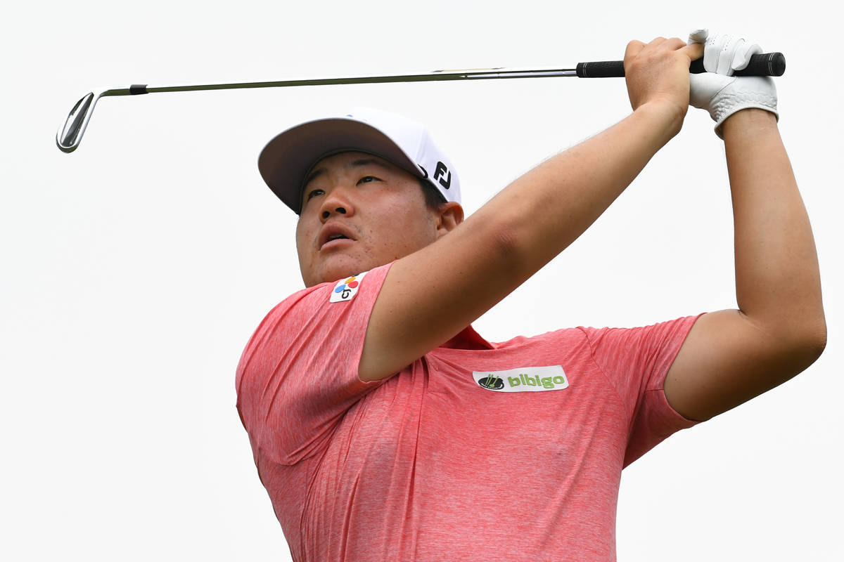 Sungjae Im, of South Korea, hits on the 14th hole during the second round in the World Golf Cha ...