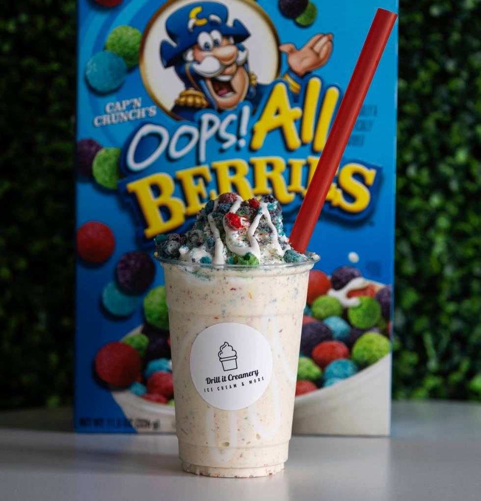 Drilled Shake, fruity pebbles, fruit loops trapped with marshmallow sauce and all berries is di ...