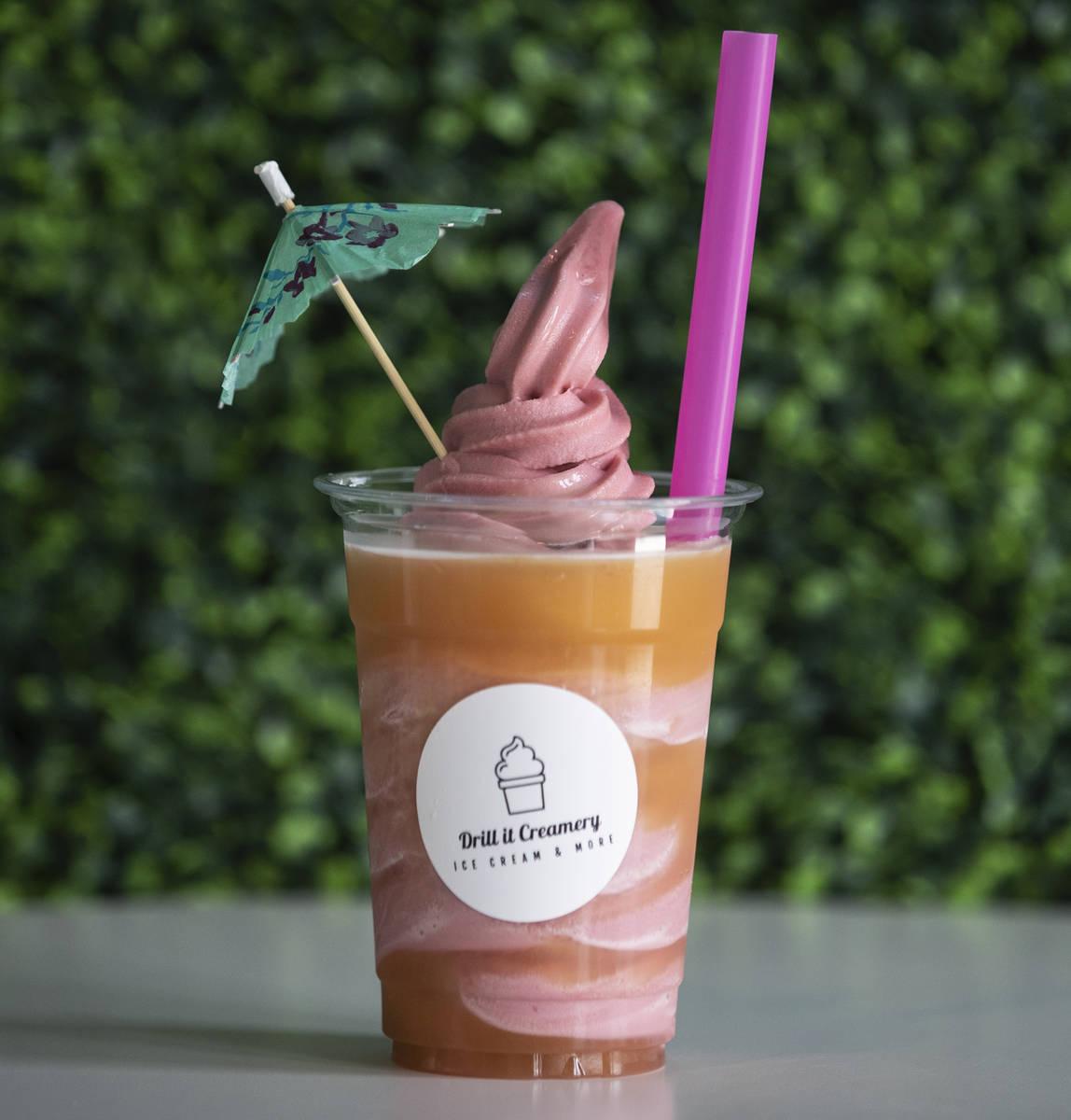 Strawberry pina colada dole float is displayed at Drill It Creamery in Las Vegas. (Bizuayehu Te ...