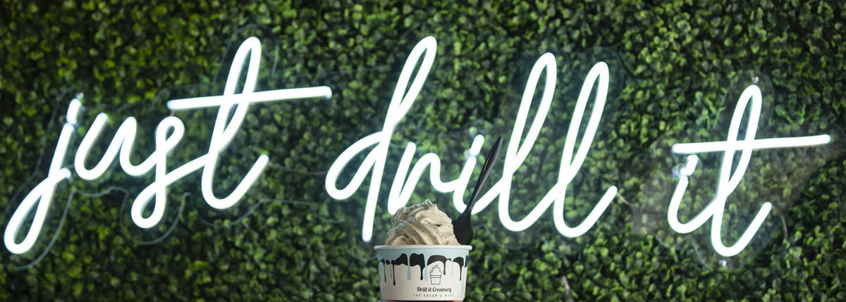 Cinnamon Toast Crunch and Oreo's drilled swirl ice cream is displayed at Drill It Creamery in L ...