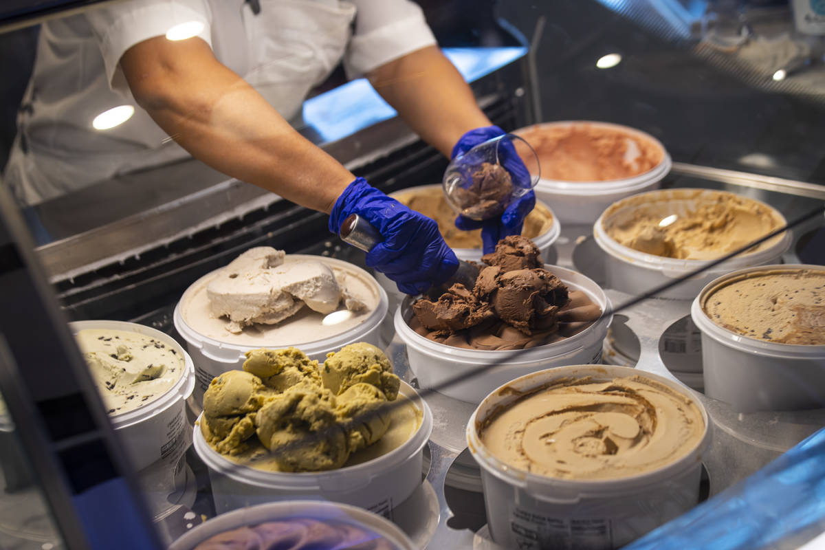 Fountain worker Maria Casian scoops ice cream at Craig's Vegan in The District at Resorts World ...