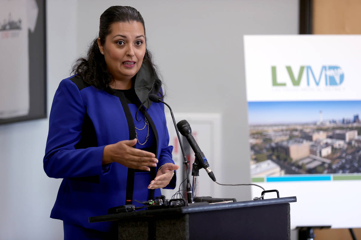 Las Vegas Councilwoman Olivia Diaz speaks during a news conference at UNLV School of Medicine i ...