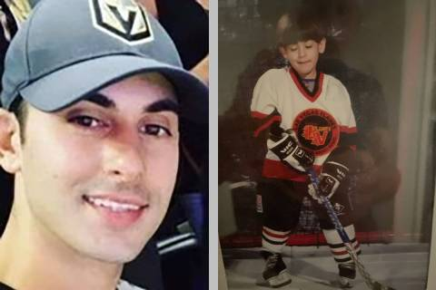 On the left, Shay Mikalonis wears his Golden Knights hat. On the right, Mikalonis, age 4, weari ...