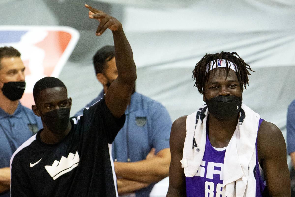 Sacramento Kings center Neemias Queta (88) celebrates a teammate's three-pointer during the sec ...