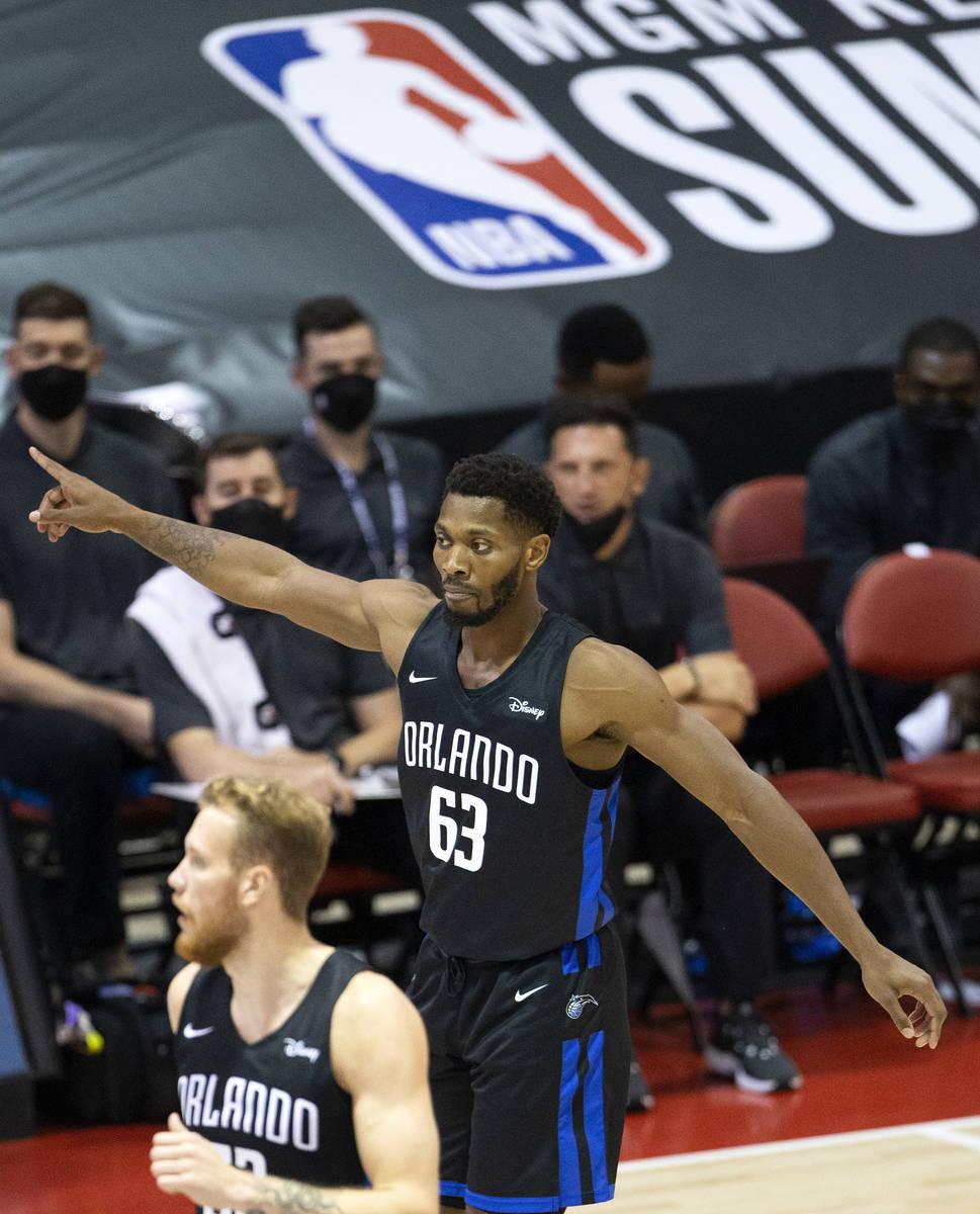 Orlando Magic forward Shakur Juiston (63) signals to teammates during the second half of an NBA ...