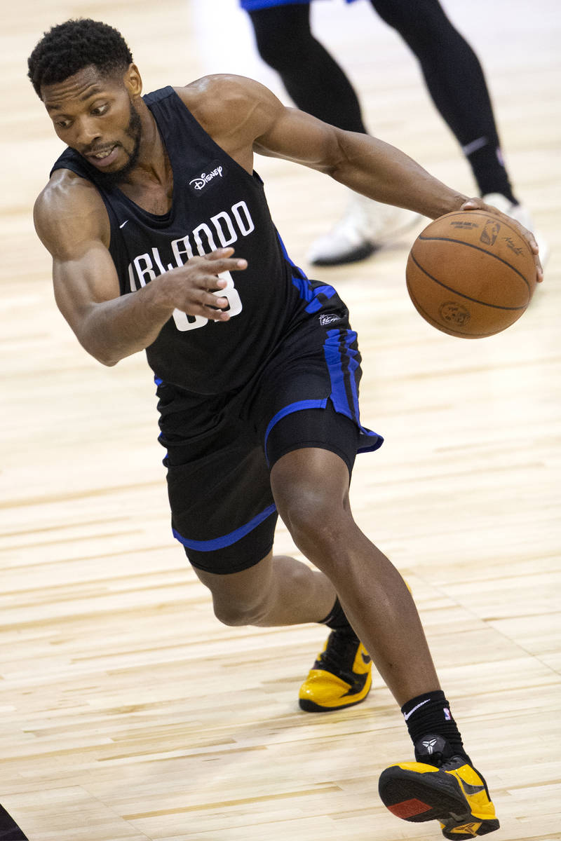 Orlando Magic forward Shakur Juiston (62) dribbles down the court during the second half of an ...