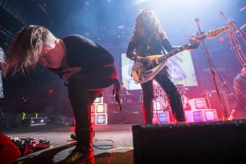 Fear Factory vocalist Burton C. Bell, left, joins Al Jourgensen of Ministry for a performance a ...