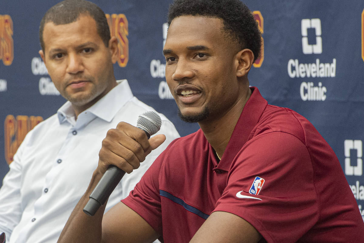 Cleveland Cavaliers first round draft selection, Evan Mobley speaks with reporters as Cavs GM K ...
