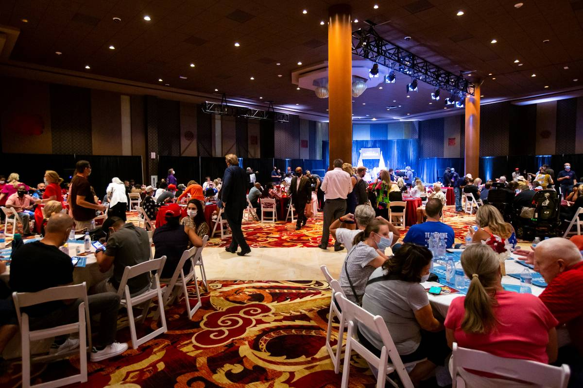 """An """"Evangelicals for Trump"""" campaign event is held at the Ahern Hotel in Las Vegas on Thursday, ..."""