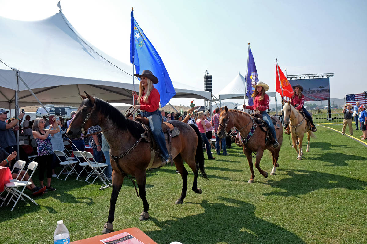 Riders on horseback presented the colors at the 6th annual Basque Fry in Gardnerville, Nev. on ...