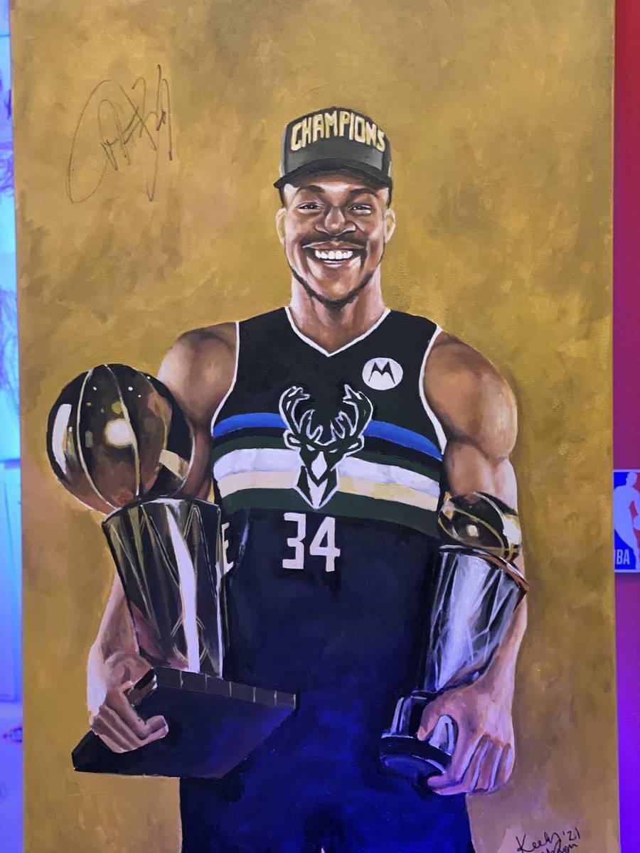 Keely Jackson's portrait of Milwaukee Bucks forward and reigning NBA Finals MVP Giannis Antetok ...
