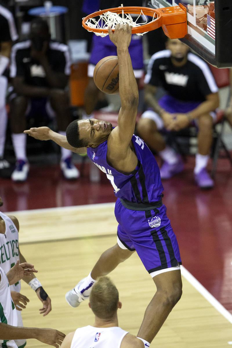 Sacramento Kings guard Jahmi'us Ramsey (3) dunks during the second half of a NBA Summer League ...