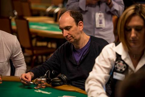 Erik Seidel stacks chips during the One Drop High Roller Tournament at the World Series of Poke ...