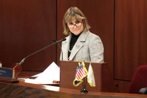 Lt. Gov. Kate Marshall presides over the Senate the Legislative Building in Carson City on the ...