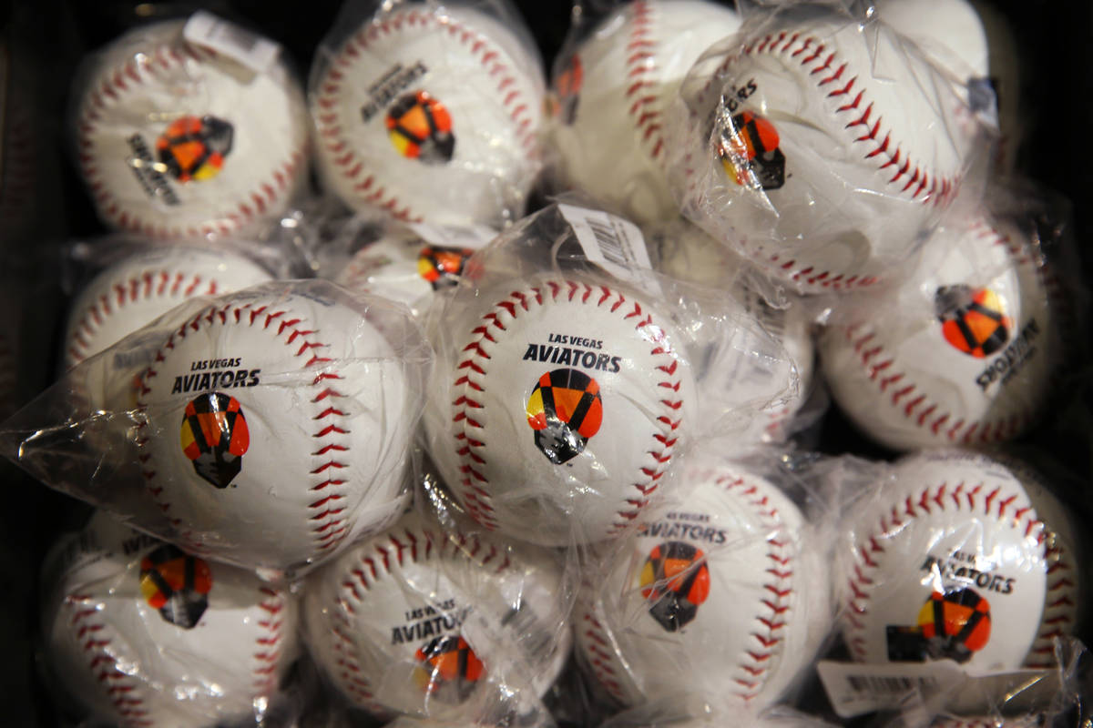 Baseballs with Aviator's logo are for sale at the Las Vegas Aviators sales office in Downtown S ...