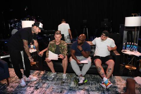 AJ McLean and Nick Carter of the Backstreet Boys, Wanya Morris of Boyz II Men and Joey Fatone o ...