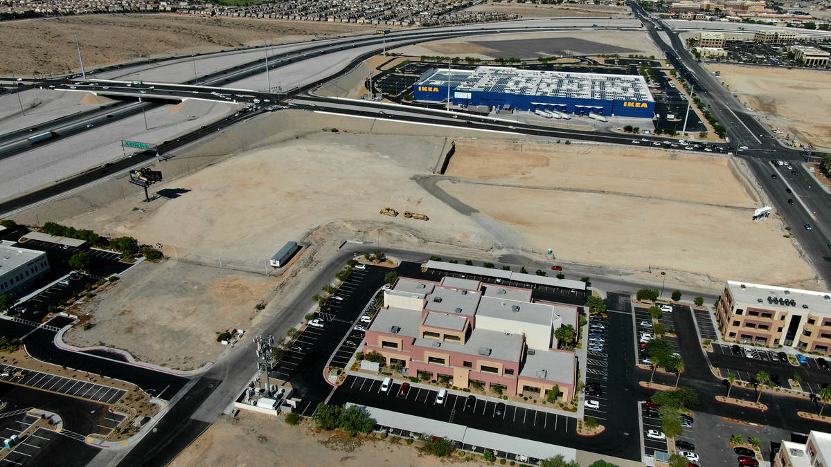 An aerial view of a planned Life Time fitness site at the southeast corner of Sunset Road and D ...