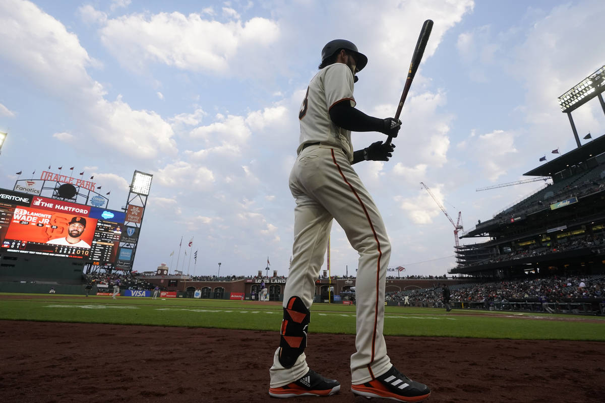 San Francisco Giants' Kris Bryant against the Colorado Rockies during a baseball game in San Fr ...