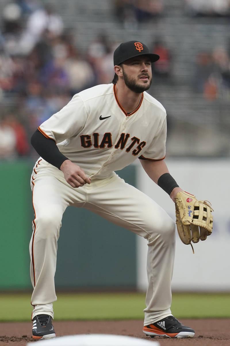 San Francisco Giants third baseman Kris Bryant against the Colorado Rockies during a baseball g ...