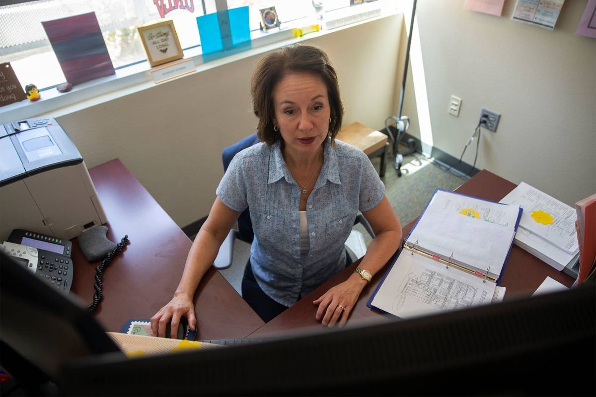 School counselor Rachael Mikita, who serves grades 9 through 12, works at Nevada Learning Acade ...