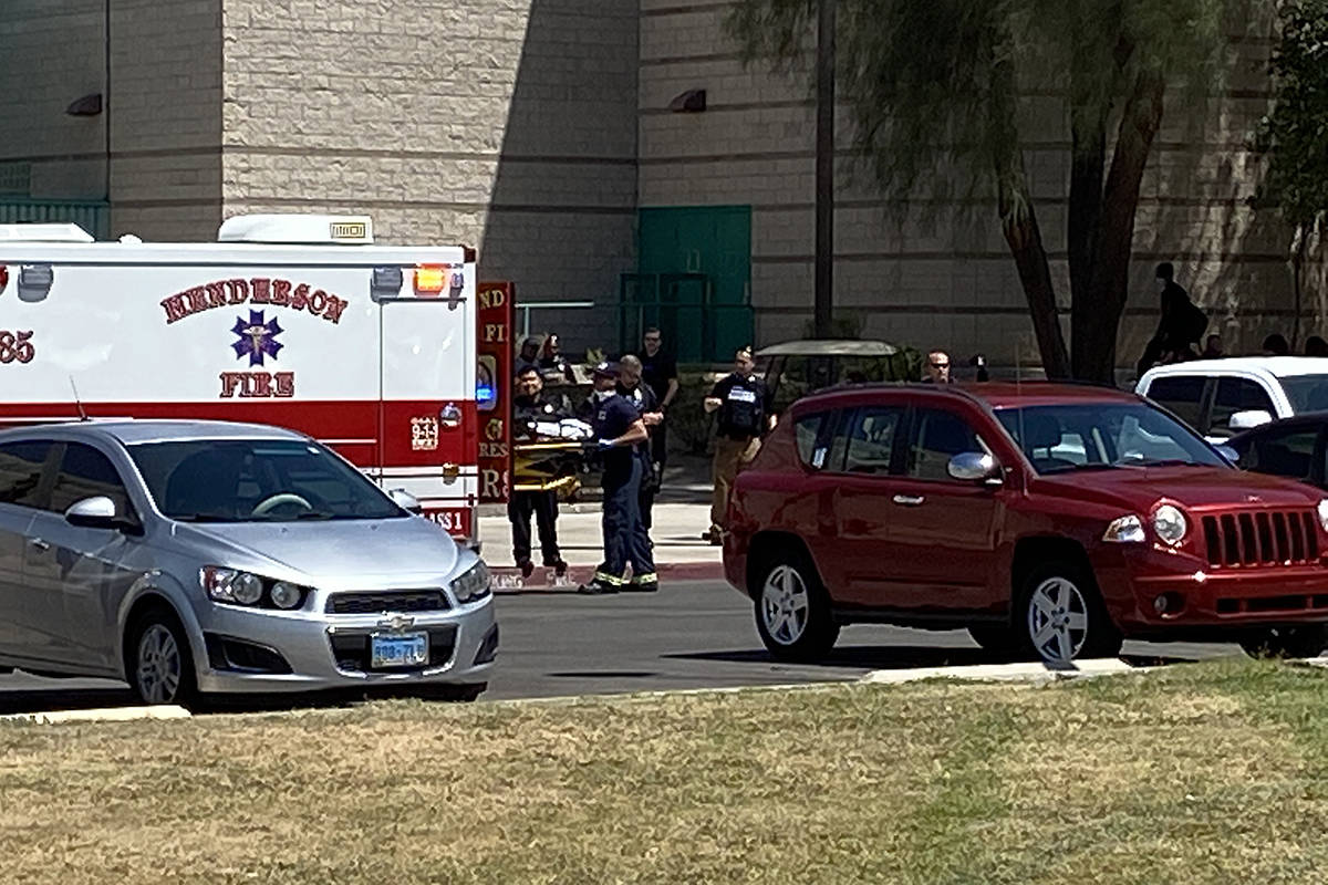 Police and emergency responder activity outside of Green Valley High School on Monday, August 2 ...