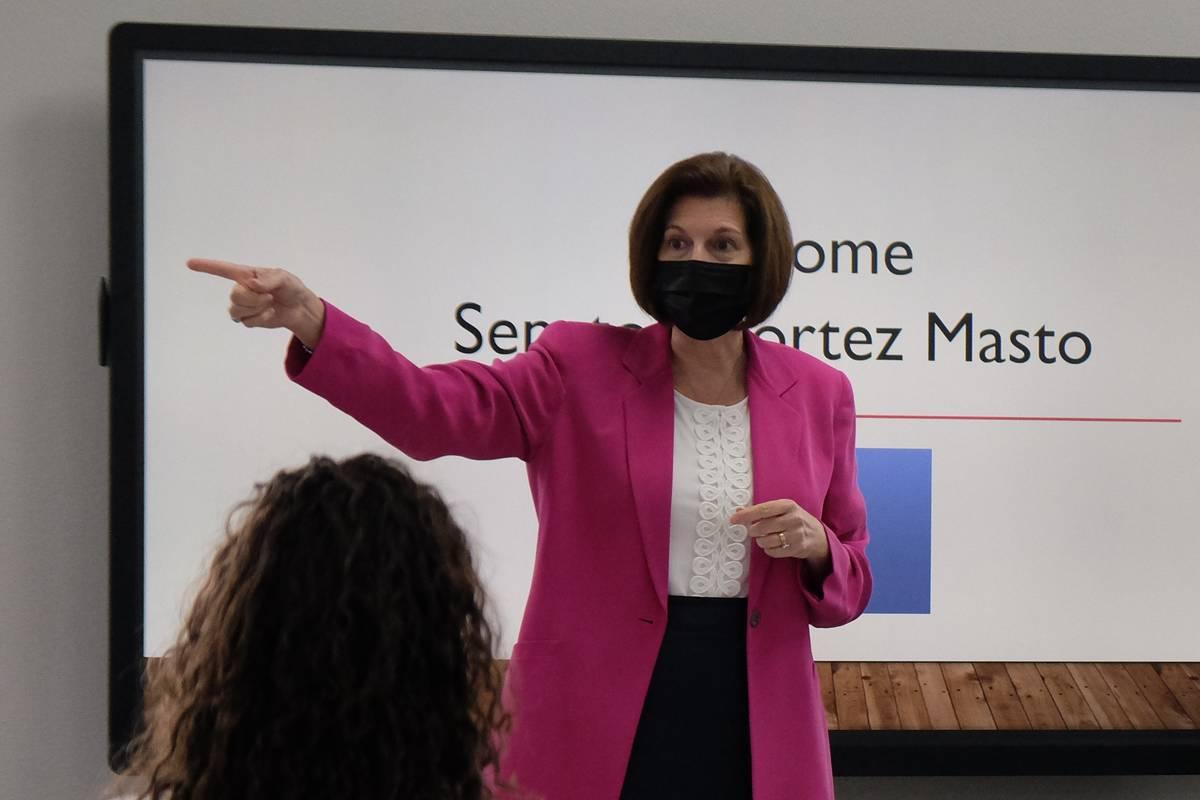 Sen. Catherine Cortez Masto, D-Nevada, speaks to Reno-area clean energy business stakeholders M ...