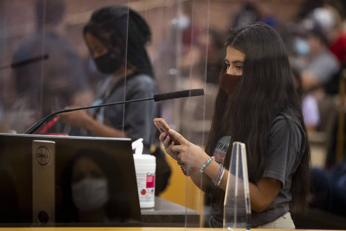 Desiree Rodriguez, student body president at Las Vegas High School, speaks during a Clark Count ...