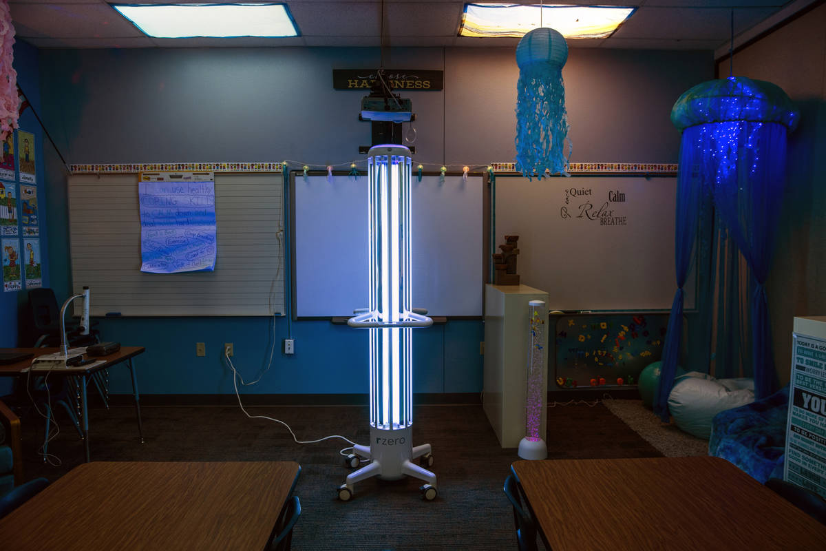 An R-Zero 372 Arc UV-C system sanitizes a room at Kesterson Elementary School as the Clark Coun ...