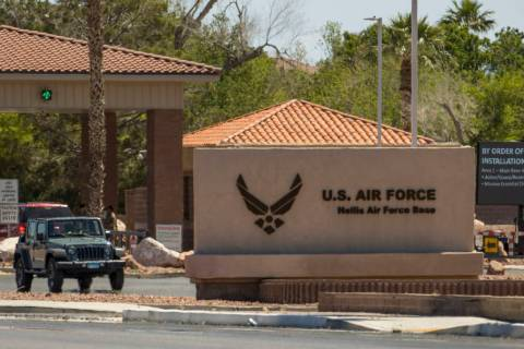 Nellis Air Force Base on Wednesday, May 20, 2020, in Las Vegas. (L.E. Baskow/Las Vegas Review-J ...