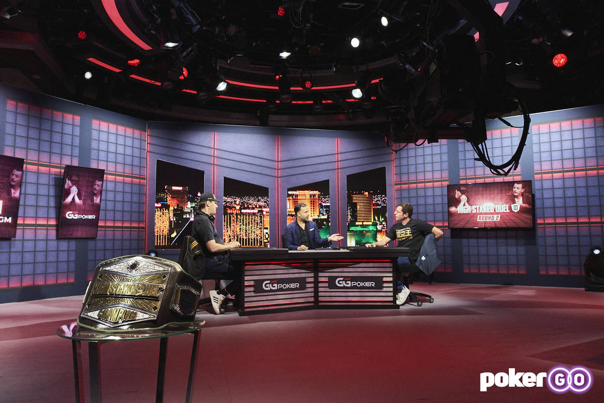 """Phil Hellmuth, left, and Tom Dwan, right, talk with host Ali Nejad before their """"High Stakes Du ..."""