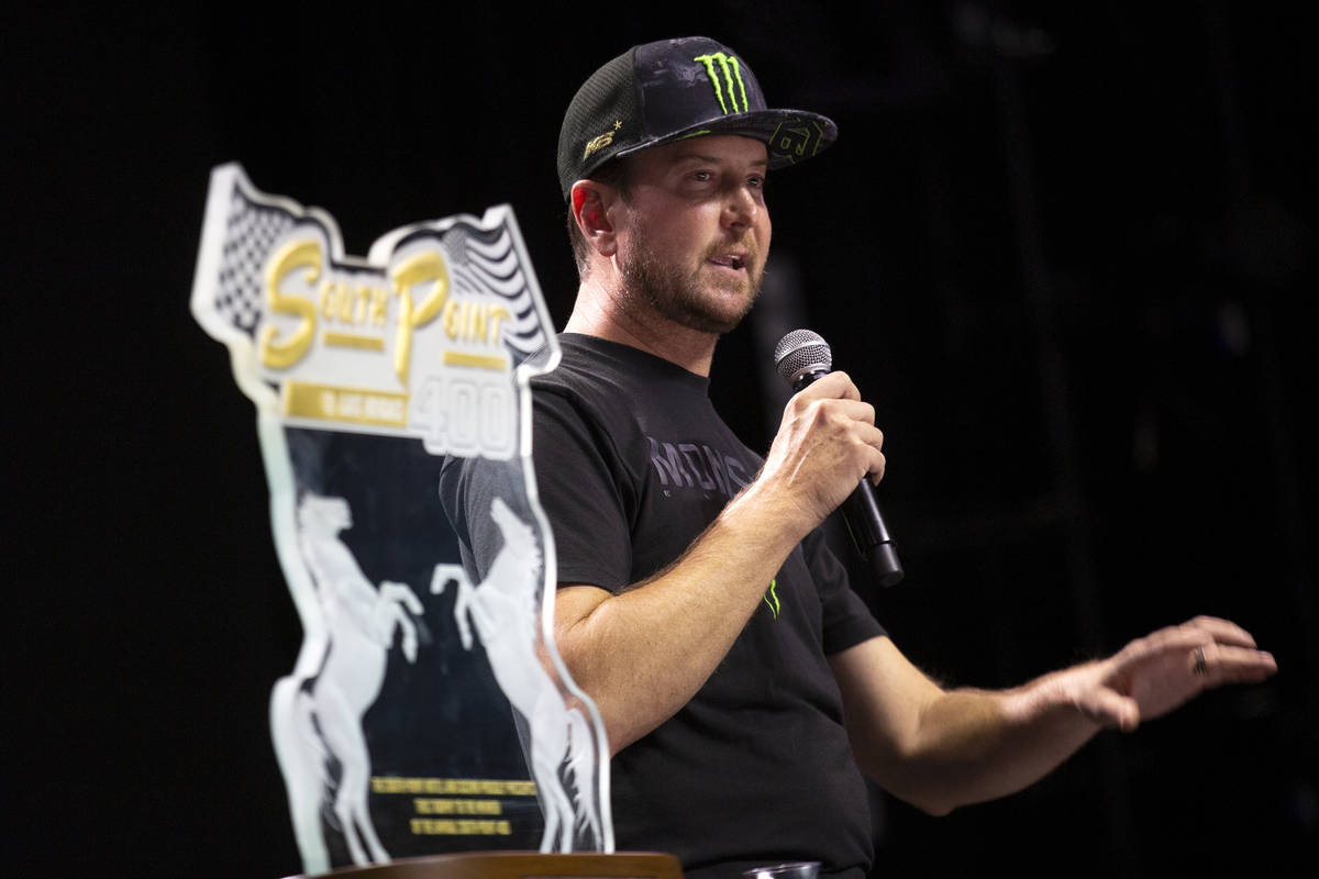 Kurt Busch, a NASCAR driver from Las Vegas, answers questions from fans during an event in The ...