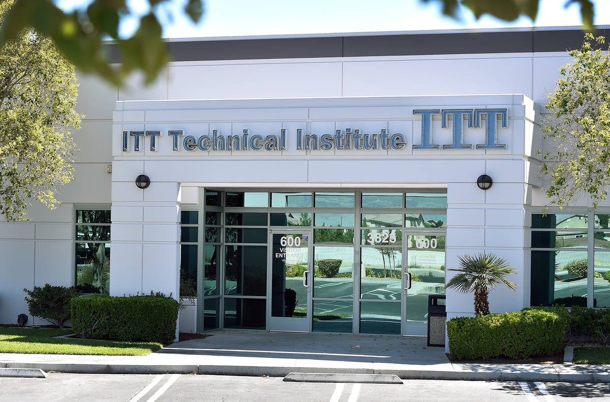 The front entrance to the ITT Technical Institute's West Cheyenne Avenue campus in North Las Ve ...
