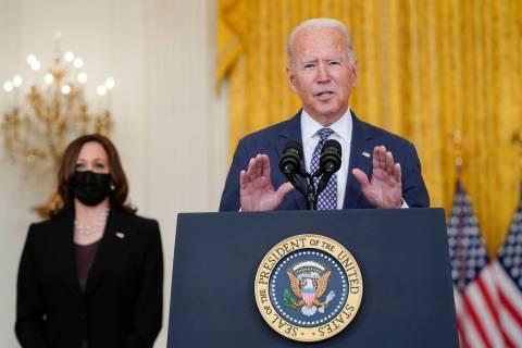 President Joe Biden speaks about the evacuation of American citizens, their families, SIV appli ...